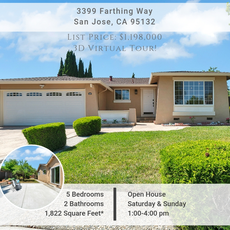[Virtual Tour] 5-Bed Home Just Listed in Excellent Berryessa Location W/High Rated Schools!